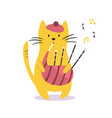 funny cat playing bagpipe vector image vector image