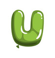 green letter u in form of bright glossy balloon vector image vector image