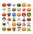 halloween emojis set flat vector image vector image