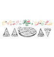 hot pizza set with ingredients and different types vector image vector image
