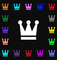 King Crown icon sign Lots of colorful symbols for vector image vector image
