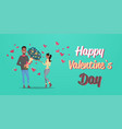 man present woman bouquet of flowers happy vector image