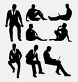 Man sitting silhouettes vector image