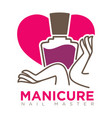 manicure logotype with female hands holding nail vector image vector image