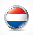 Netherlands flag button vector image vector image
