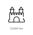 outline castle toy icon isolated black simple vector image vector image