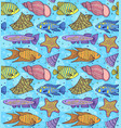 pattern with fish esand shells vector image vector image