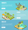 public zoo isometric 3d posters set vector image