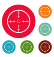 radar icons circle set vector image vector image