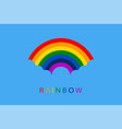 rainbow with blue clouds on sky background for vector image vector image