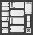 realistic detailed 3d white blank tickets template vector image vector image