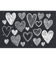 set of hand drawn doodle hearts black and vector image vector image