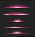 set of purple glowing light effect isolated vector image vector image