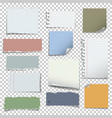 set various notes paper on transparent vector image vector image