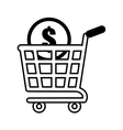 shopping cart online coin dollar outline vector image