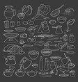 sketch collection set chalk on blackboard vector image vector image