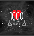 thank you 1000 followers doodle template vector image vector image