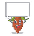 up board cacao bean character cartoon vector image vector image