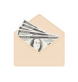 usa banking currency in open beige envelope one vector image