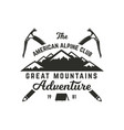 vintage hand crafted label mountain expedition vector image
