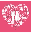Wedding elements in the shape of a heart vector image vector image