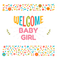 Welcome baby girl shower card Arrival card Cute vector image vector image