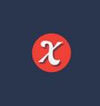 x orange white circle logo letter alphabet vector image vector image