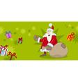 xmas greeting card with santa vector image