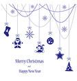 Christmas toys blue card for Merry Christmas vector image