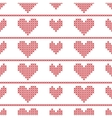 Seamless pattern with embroided hearts on white vector image