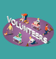 animals volunteers isometric composition vector image vector image