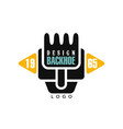 backhoe logo design estd 1965 excavator vector image vector image