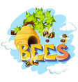 bees flying around beehive vector image vector image