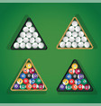 billiard balls in triangle on green pool table top vector image vector image