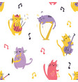 bright seamless pattern with funny cats musicians vector image vector image