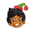 cartoon christmas elf santa helper head icon vector image