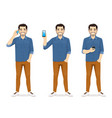 casual man with phone vector image vector image