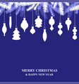 christmas card with hanging decorations on blue vector image vector image