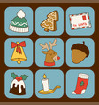 christmas greeting card stickers symbols vector image vector image