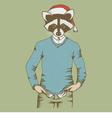 Christmas Raccoon vector image vector image