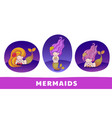 collection of cute cartoon mermaids with golden vector image vector image