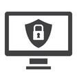 computer security solid icon protection padlock vector image