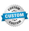 custom 3d silver badge with blue ribbon vector image vector image
