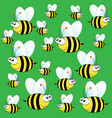 cute bee pattern on green background vector image
