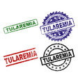 damaged textured tularemia seal stamps vector image vector image
