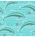 dolphins seamless pattern blue sea background vector image