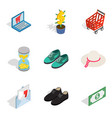 femme fatale icons set isometric style vector image