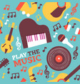 fun music instrument icon seamless pattern vector image vector image