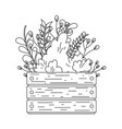garden wooden box with flowers vector image