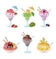 Glasses and Cups with Ice Cream Fruit Berry vector image vector image
